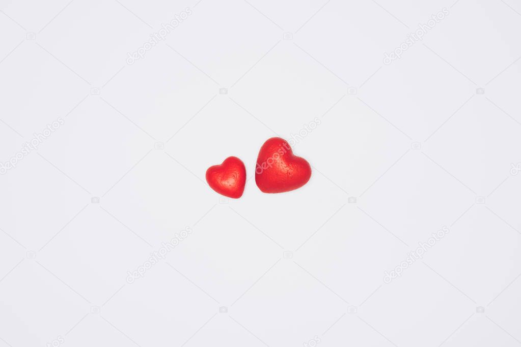 small red hearts isolated on white