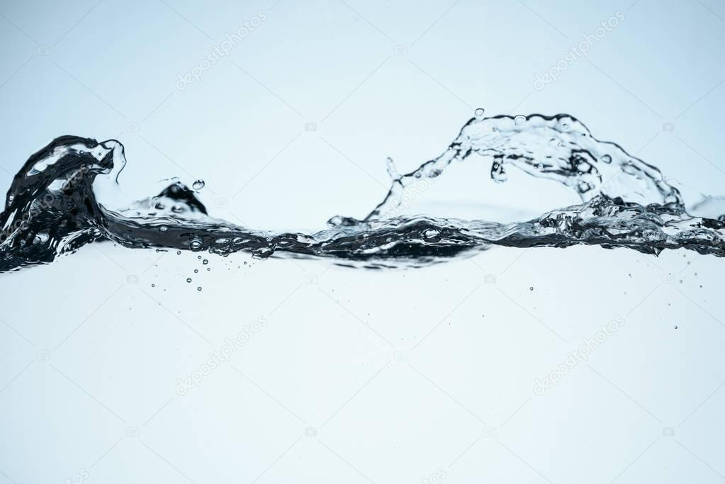 minimalistic background with clear flowing water, isolated on white