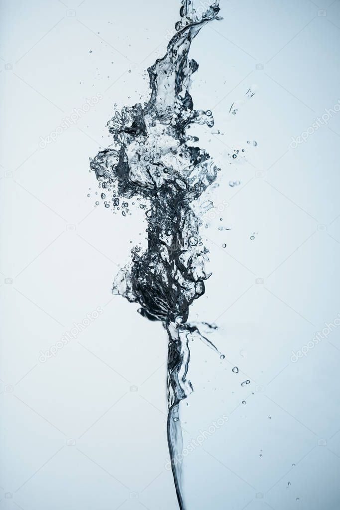 minimalistic background with water splash, isolated on white