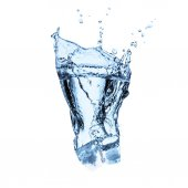 Photo ice cube with water splashes, isolated on white