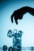 Fotografia ritagliate la vista di persona lanciare cubetti di ghiaccio in vetro