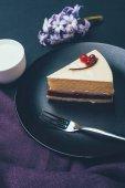 Chiuda sulla vista di pezzo di torta fatta in casa e tazza di latte