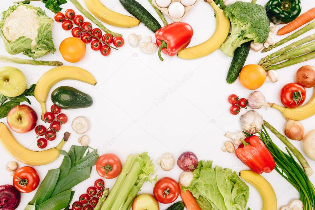top view of vegetables and fruits isolated on white