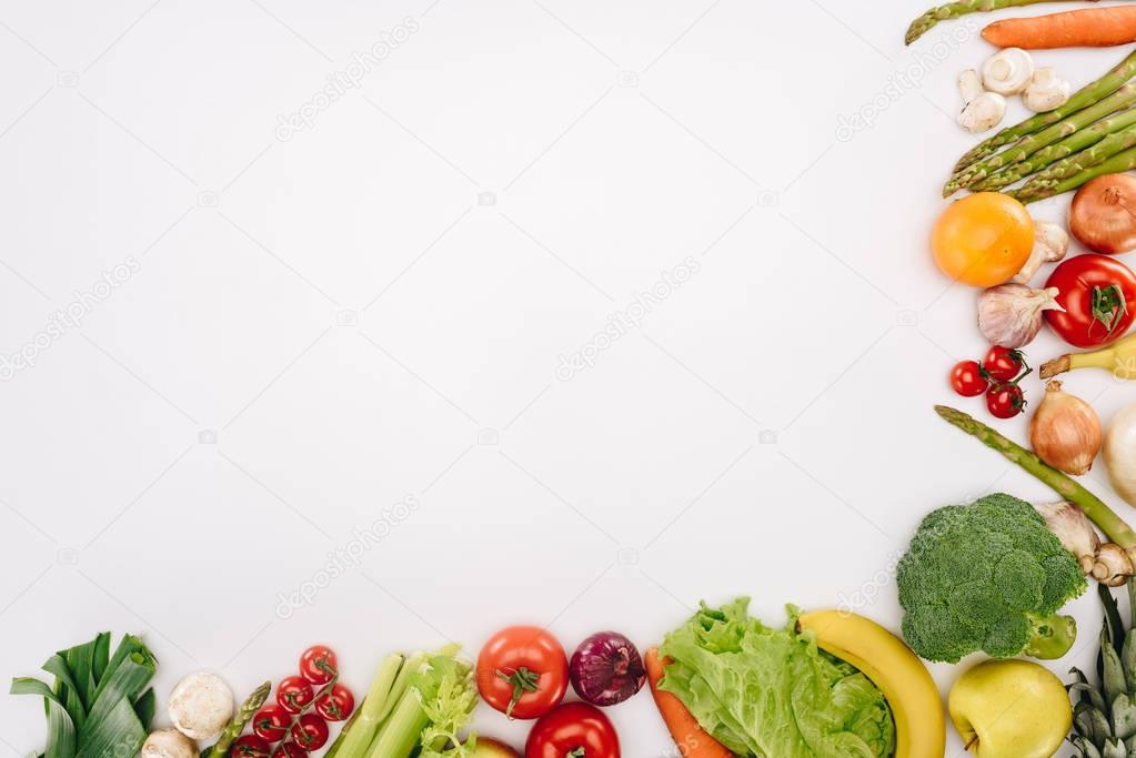 top view of vegetables and fruits isolated on white, grocery concept