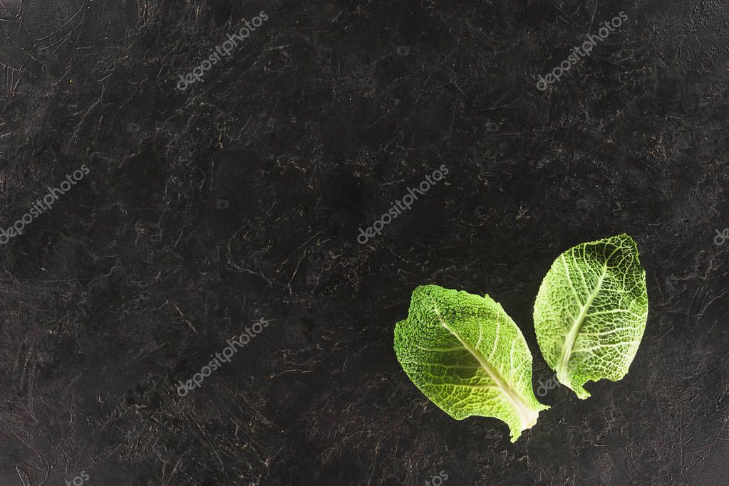 top view of green leaves of fresh healthy savoy cabbage on black