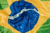close up view of brazilian flag background