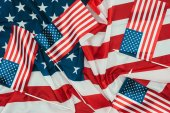 Fotografie close up view of arranged american flags, presidents day concept