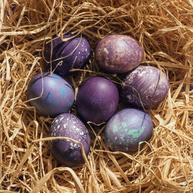 top view of purple easter eggs in straw nest