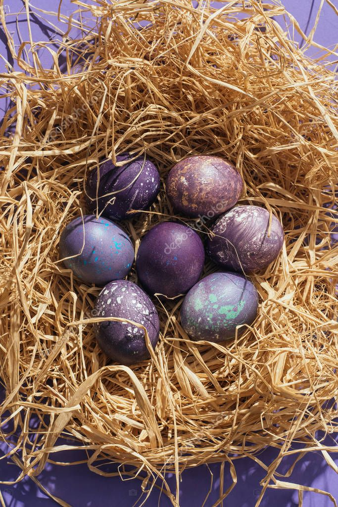 top view of traditional purple easter eggs in straw nest