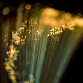 Photo selective focus of shiny yellow fiber optics texture background