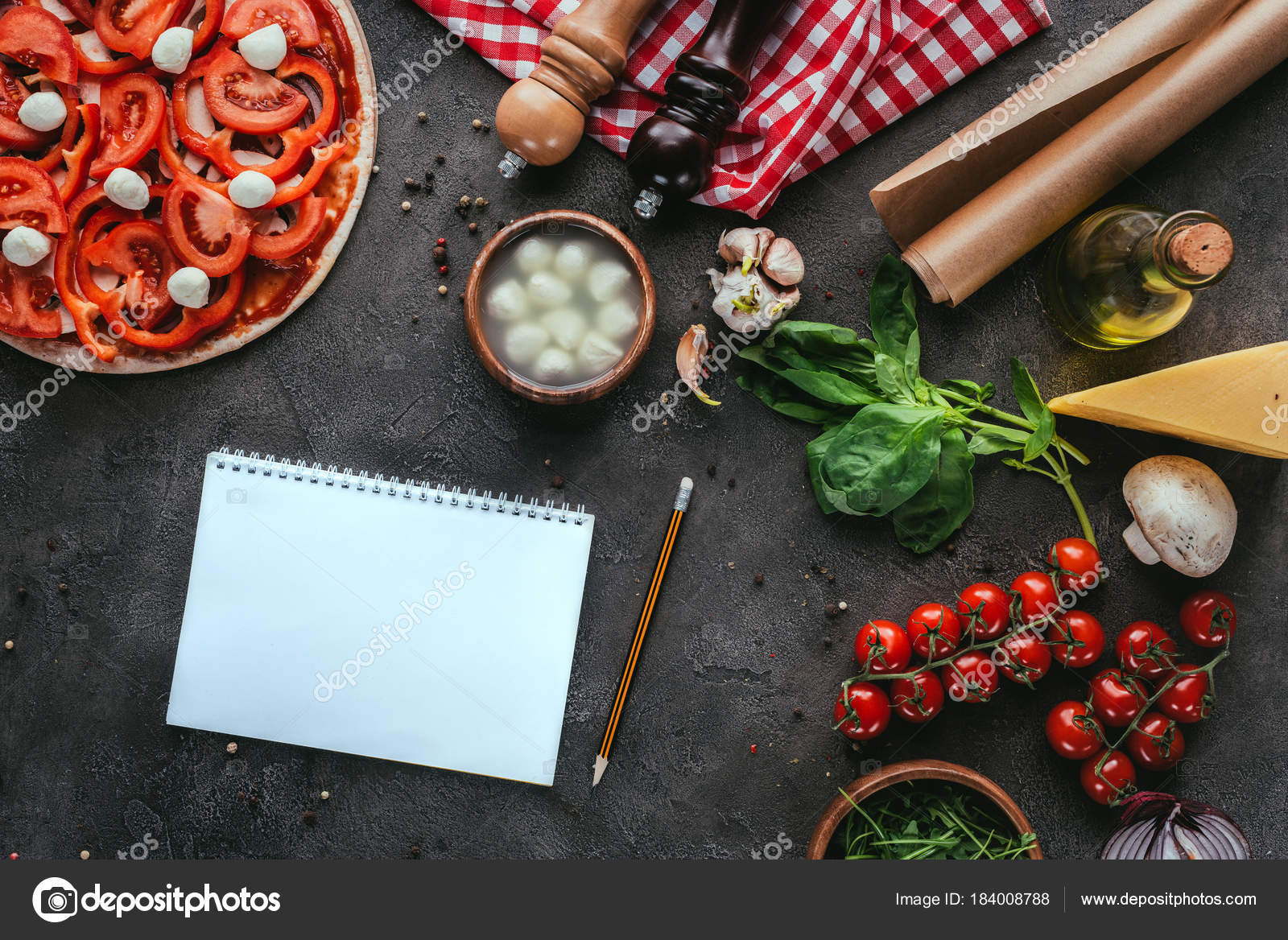 Top view uncooked pizza blank notebook recipe concrete table stock top view uncooked pizza blank notebook recipe concrete table stock photo forumfinder Image collections