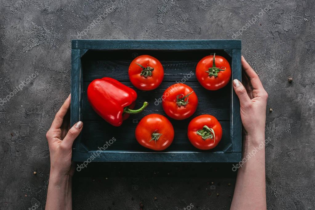 cropped shot of woman holding tomatoes in box on concrete surface