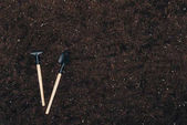 Photo top view of gardening tools on ground with copy space