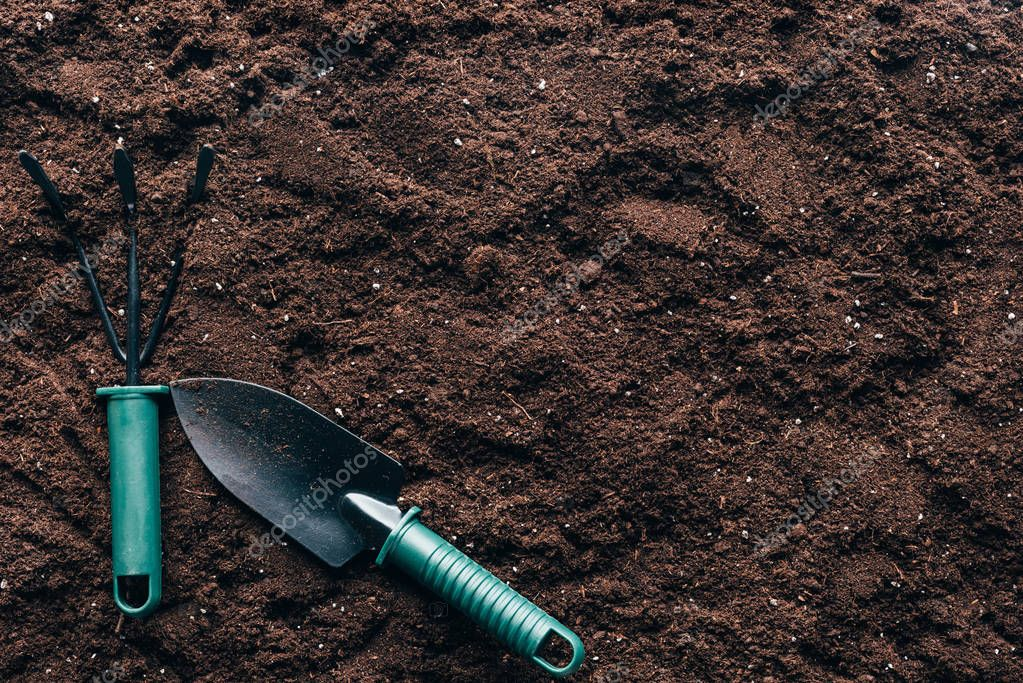 top view of small gardening tools on soil with copy space