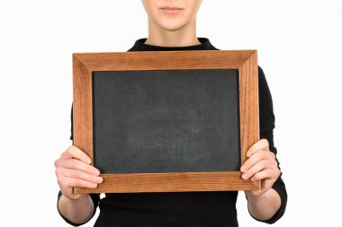 Cropped view of woman holding empty board isolated on white