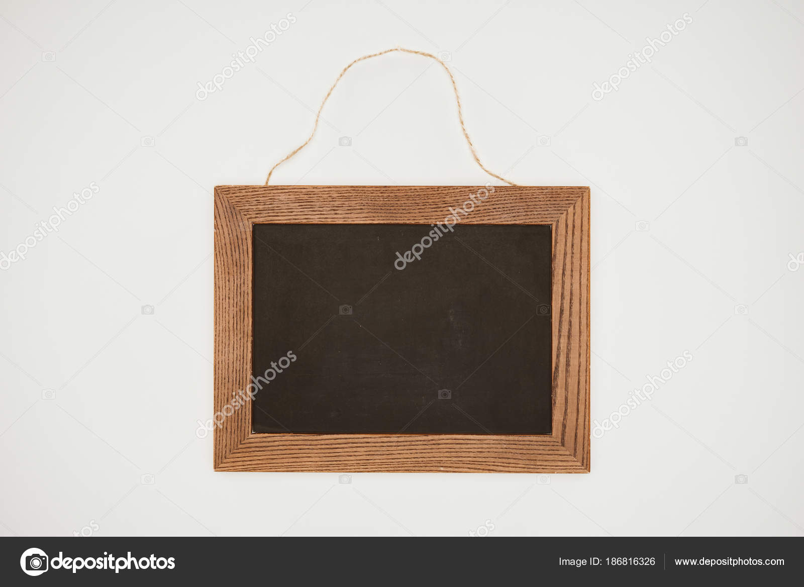Blank Chalkboard Wooden Frame Thread Isolated White — Stock Photo ...