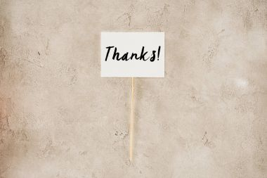Top view of thanks lettering on placard on concrete surface stock vector