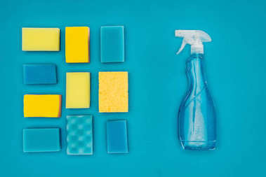top view of spray bottle and washing sponges isolated on blue