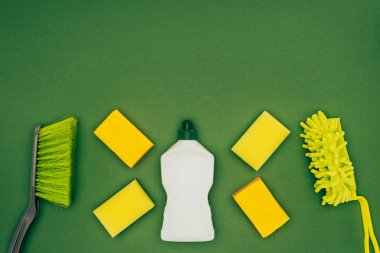 top view of washing sponges, cleaning fluid and brushes isolated on green