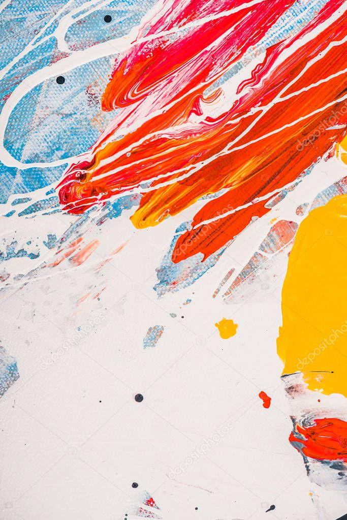 Close up of acrylic paint splatters on abstract multicolor background stock vector