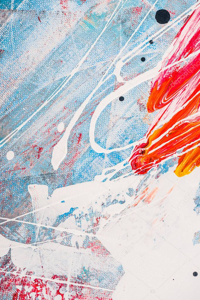 Splatters of oil paint on abstract colorful background stock vector
