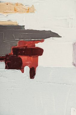 close up of beige and burgundy brush strokes on abstract oil painting