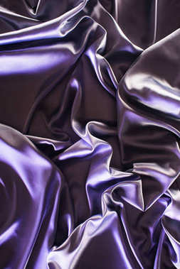ultra violet crumpled shiny silk fabric background