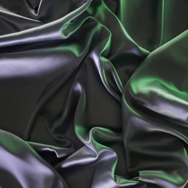 green and silver shiny silk fabric background