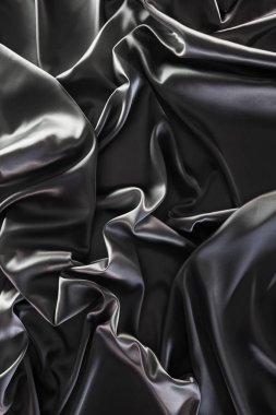 Dark silver crumpled silk fabric background stock vector