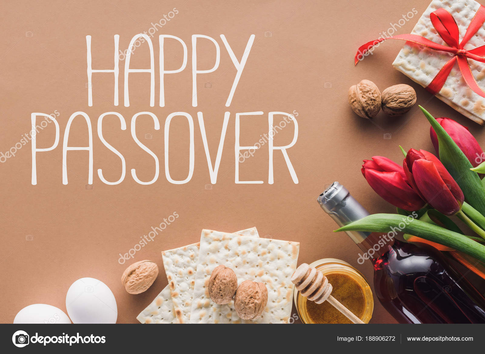 Top View Happy Passover Greeting Matza Brown Passover Tale Concept