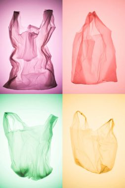 creative collage of various colorful empty plastic bags