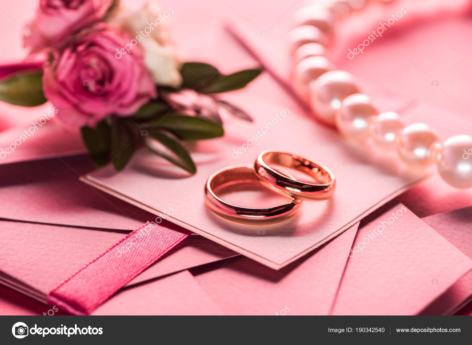 Wedding Rings Pearl Necklace Boutonniere Pink Envelopes Invitations ...
