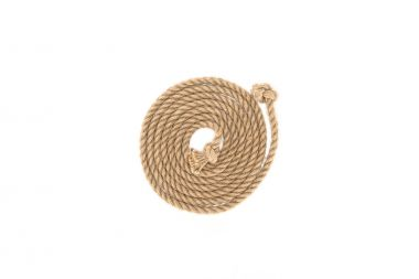 top view of arranged brown marine rope with knots isolated on white