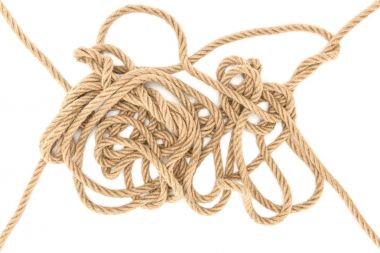 top view of brown marine ropes isolated on white