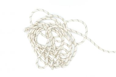 top view of white marine rope isolated on white