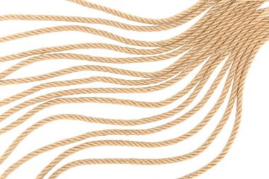 top view of arranged brown nautical rope isolated on white