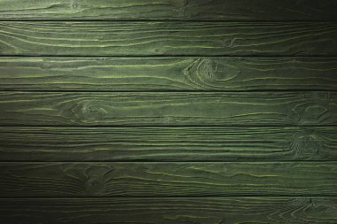 Carpentry template with green wooden planks