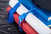 Fotografie Oddaný pes a diplom s modrou stuhou na stoh knih