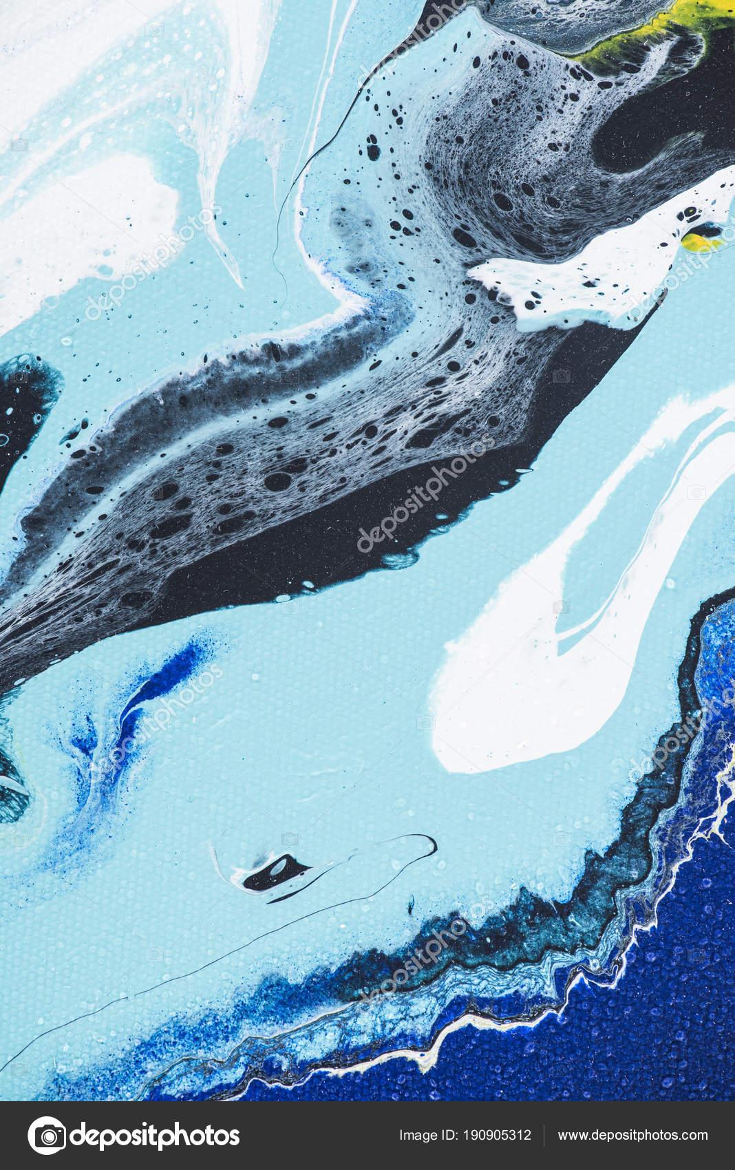 Abstrait Avec Peinture Acrylique Blanche Bleue Photographie