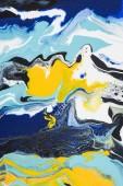 Abstraktní malba olej s žluté a modré barvy