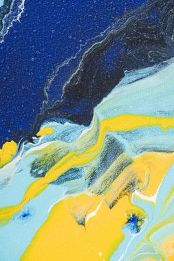 Abstract acrylic background with yellow and blue paint
