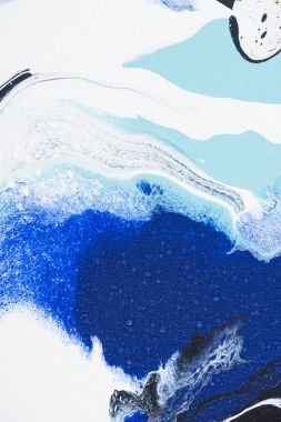 Abstract texture with white and blue oil painting