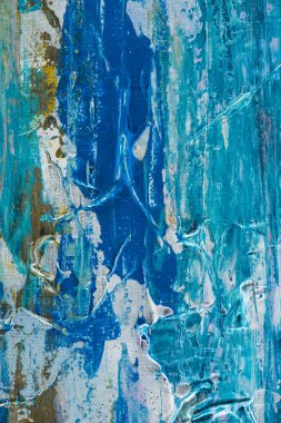 creative design texture with blue brush strokes of oil paint