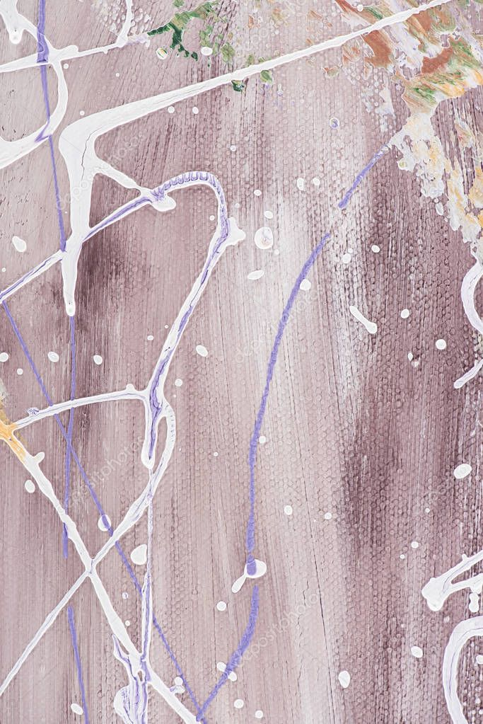 Close up of oil painting with white splatters on purple background stock vector