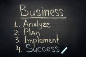 Business process stages inscription on dark chalkboard