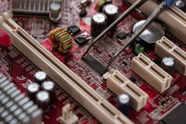 Mainboard close-up view with electronic details and components