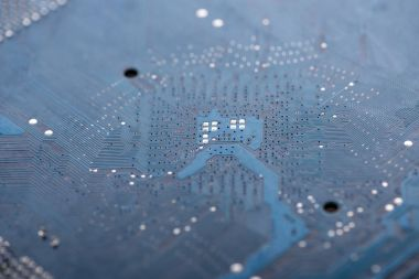 Closeup view of electronic circuit baseboard