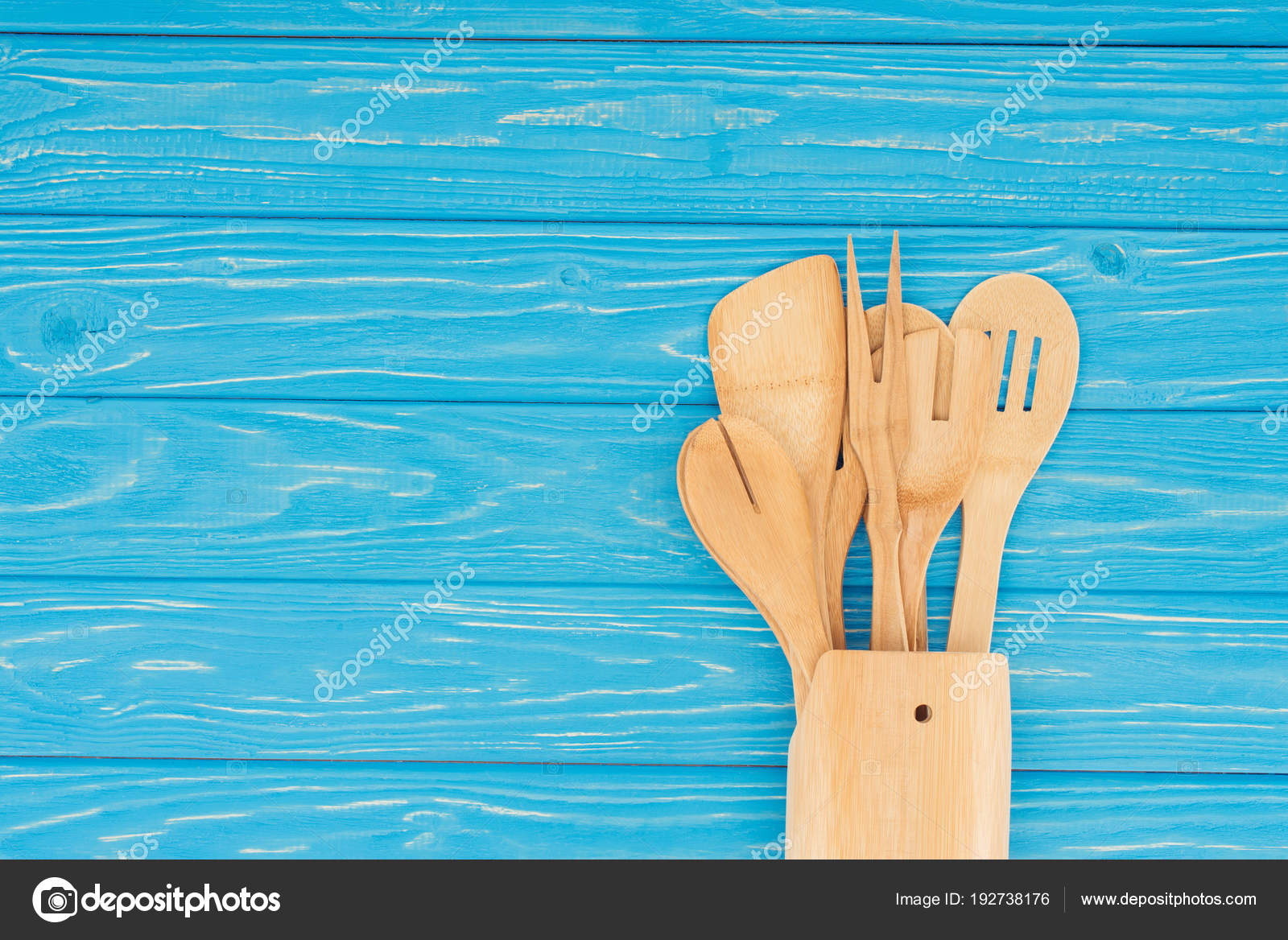 Top View Different Wooden Kitchen Utensils Blue Table — Stock Photo ...