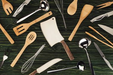 top view of kitchen utensils on wooden table