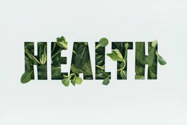 Word health made of fresh green leaves isolated on grey stock vector